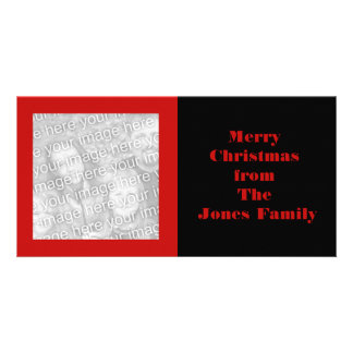 simple red black personalized photo card