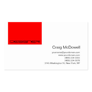 Simple Red Black White Monogram Business Card