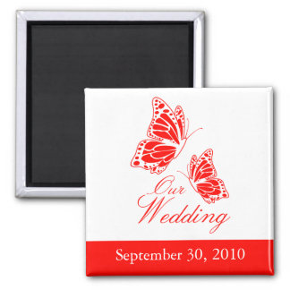 Simple Red Butterfly Wedding Announcement Magnet
