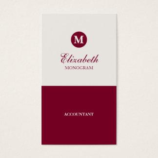 Simple Red & Cream Monogram Business Cards
