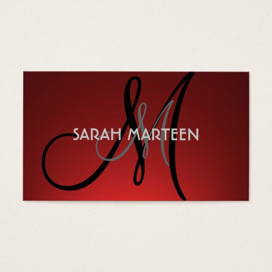 Simple red fade custom monogram cards