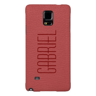 Simple Red Faux Leather Look Monogram Galaxy Note 4 Case