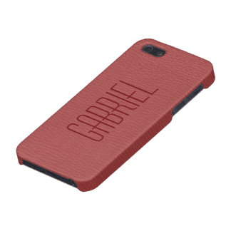 Simple Red Faux Leather Look Monogram Case For The iPhone 5