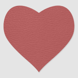 Simple Red Faux Leather Look Monogram Heart Sticker