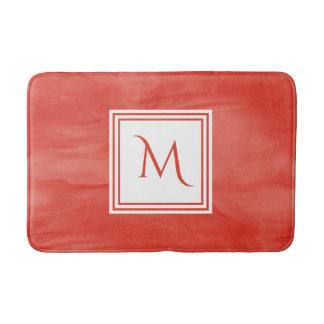 Simple Red Orange Subtle Marble Modern Monogram Bath Mat