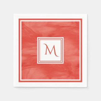 Simple Red Orange Subtle Marble Modern Monogram Disposable Serviettes
