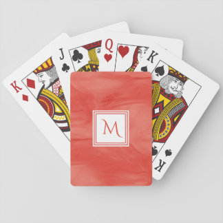 Simple Red Orange Subtle Marble Modern Monogram Playing Cards