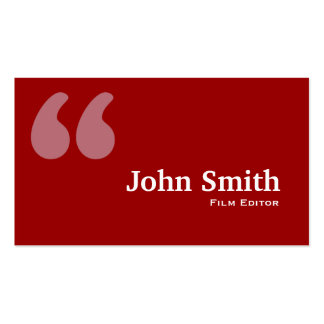 Simple Red Quotes Film Editor Business Card