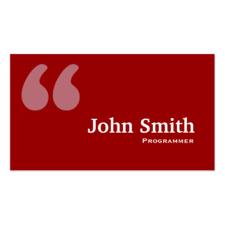 Simple Red Quotes Programmer Business Card