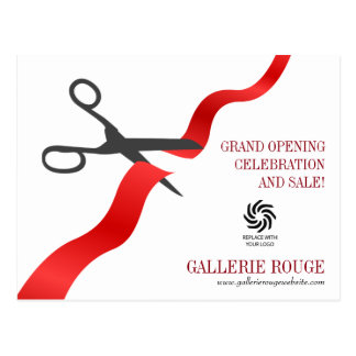 Simple Red Ribbon Cutting Grand Opening Postcard