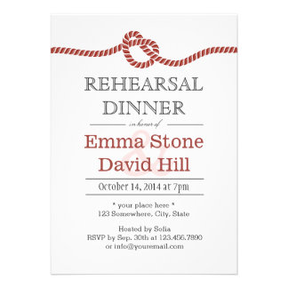 Simple Red Rope Knot Rehearsal Dinner Invite