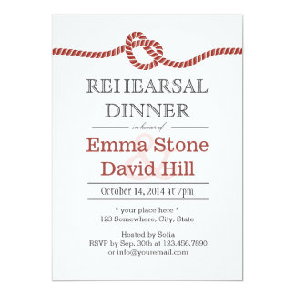 Simple Red Rope Knot Rehearsal Dinner 13 Cm X 18 Cm Invitation Card