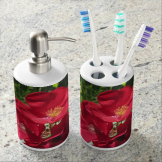 Simple Red Roses toothbrush/dispens Soap Dispenser And Toothbrush Holder