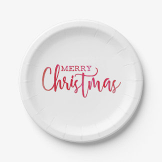 Simple Red Watercolor Merry Christmas Script Paper Plate