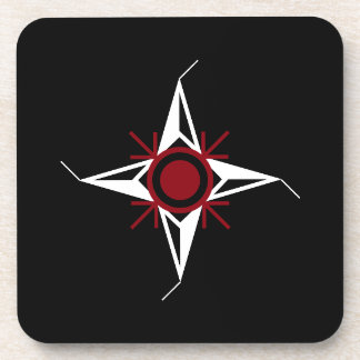 Simple Red & White North Star on Black Background Coaster