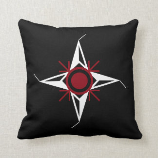 Simple Red & White North Star on Black Background Cushion