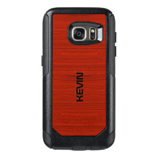 Simple Red Wood Texture Print OtterBox Samsung Galaxy S7 Case