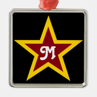 Simple Red & Yellow Star Custom Monogram on Black Christmas Ornament