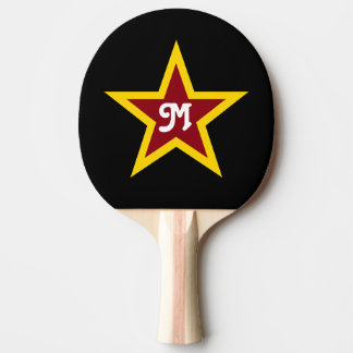 Simple Red & Yellow Star Custom Monogram on Black Ping Pong Paddle