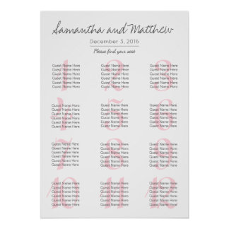 Simple Romantic Blush Wedding | Seating Chart