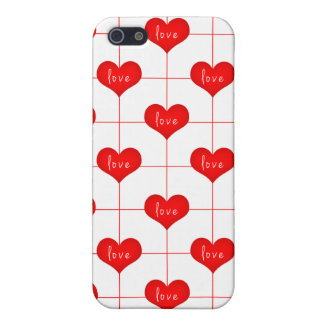 Simple Romantic Red Love Hearts Pattern iPhone 5 Covers