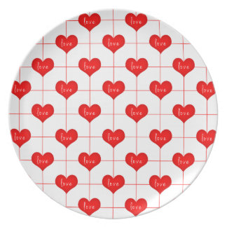 Simple Romantic Red Love Hearts Pattern Plate