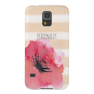 Simple Romantic Stripes Floral Galaxy S5 Covers