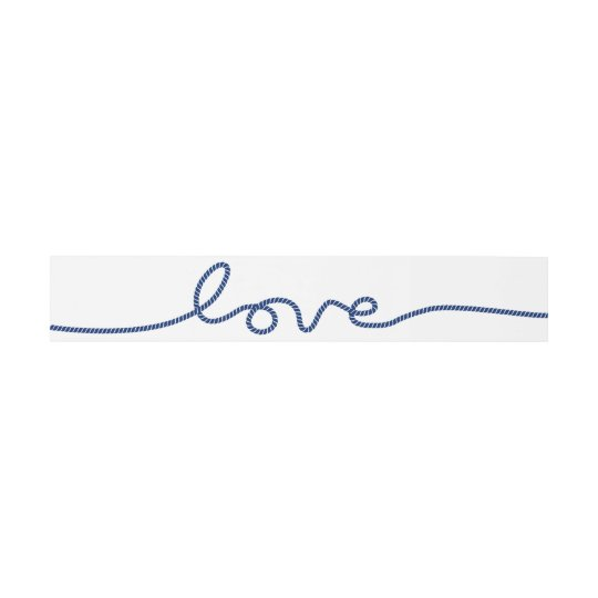 Simple Rope Script Love Nautical Wedding Invitation Belly Band