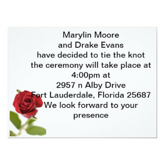 simple rose 17 cm x 22 cm invitation card