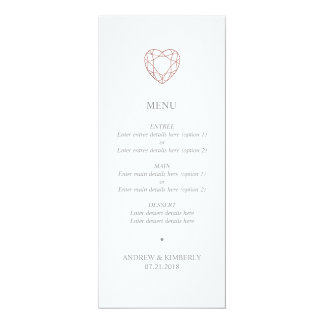 Simple rose gold heart wedding menu card
