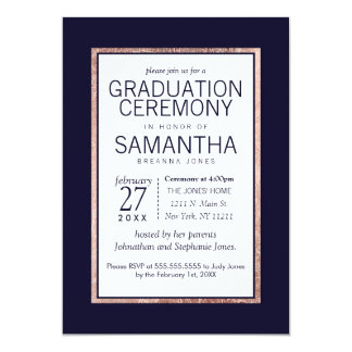 Simple Rose Gold Lined Navy Blue Graduation 13 Cm X 18 Cm Invitation Card