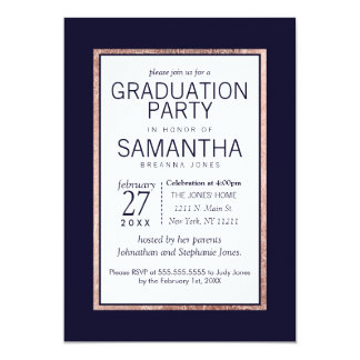 Simple Rose Gold Lined Navy Blue Graduation Party 13 Cm X 18 Cm Invitation Card