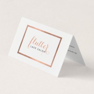 Simple Rose Gold Logo Lash Extensions Aftercare II Business Card