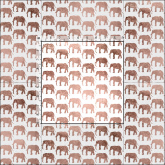 Simple rose gold wild elephants pattern fabric