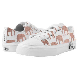 Simple rose gold wild elephants pattern low tops
