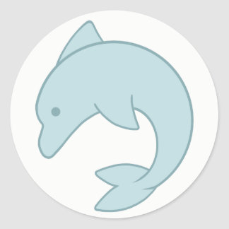 Simple Round Dolphin Classic Round Sticker
