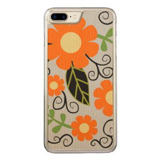 Simple Rustic Floral Pattern | Orange Flowers Carved iPhone 8 Plus/7 Plus Case