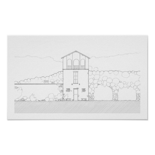 Simple Rustic House Modern Black and White Drawing Poster