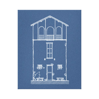 Simple Rustic House Modern Blueprint | Navy Blue Canvas Print