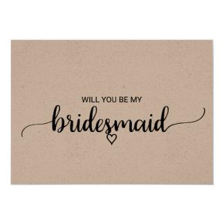 Simple Rustic Kraft Modern Calligraphy Bridesmaid Card