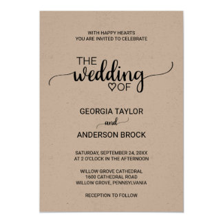 Simple Rustic Kraft Modern Calligraphy Wedding Card