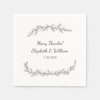 Simple Rustic Vintage Botanical Vines Wedding Paper Napkins