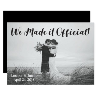 Simple Rustic We Made it Official Announcement
