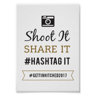 Simple Rustic Wedding 5x7 Hashtag Sign