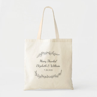 Simple Rustic Wedding Botanical Vine Thank You Tote Bag