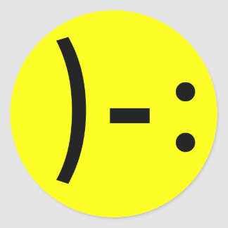 Simple Sad Face Smiley Classic Round Sticker