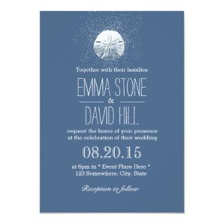 Simple Sand Dollar Navy Blue Beach Wedding 13 Cm X 18 Cm Invitation Card