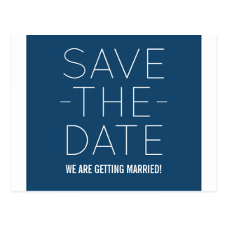 Simple Save the Date Postcard, Blue Postcard