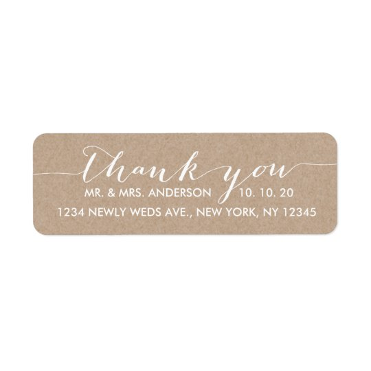 Simple Script Wedding Thank You Return Address Label