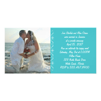 Simple Sea Blue Wedding Announcement Customized Photo Card